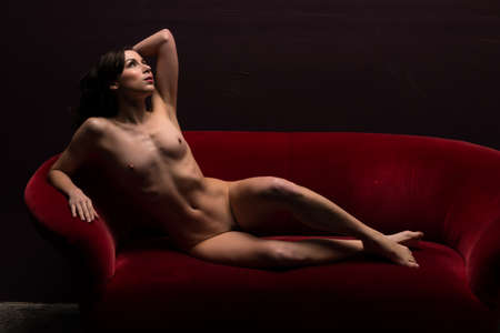 young girl nude: Pretty young brunette lying nude on a red couch