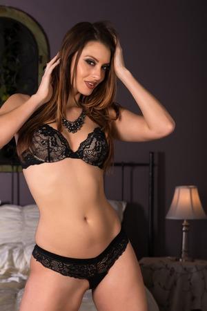 statuesque: Statuesque brunette dressed in black lingerie
