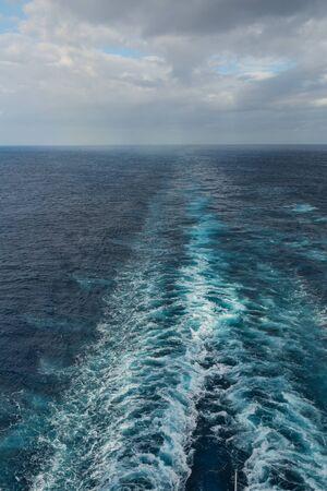 Wake of a large ship on the Atlantic Ocean Banco de Imagens