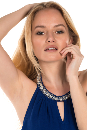 Beautiful young Hungarian blonde in a blue blouse