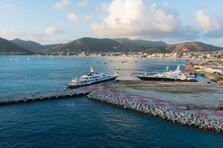 great bay: Luxury yachts in the harbor, Great Bay, Philipsburg, St. Martin Stock Photo