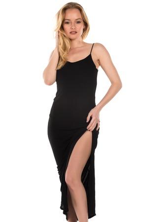 Beautiful young Hungarian blonde in a long black dress Imagens - 36911305