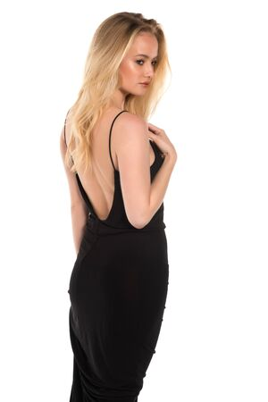 Beautiful young Hungarian blonde in a long black dress