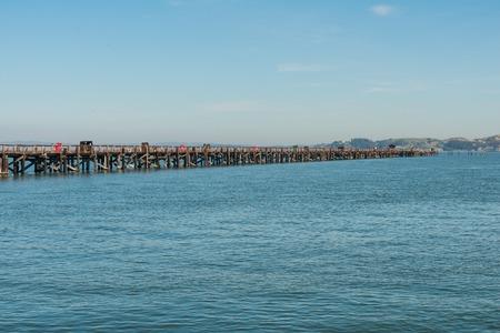 san rafael: Long pier into San Francisco Bay, Point San Quentin, San Rafael, California