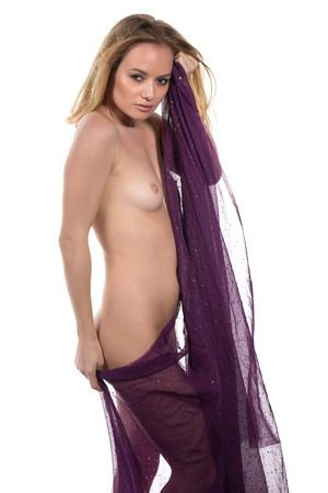 nude blonde woman: Beautiful nude blonde woman wrapped in purple cloth