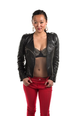 undergarment: Pretty Korean woman in a strapless blouse