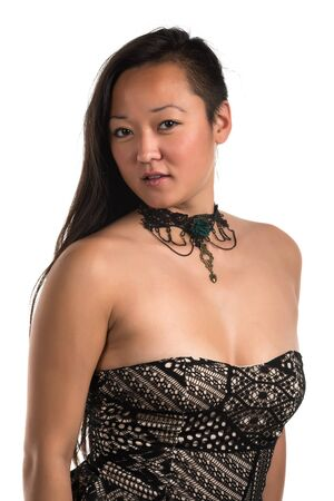 strapless: Pretty Korean woman in a strapless blouse
