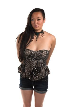 bluejeans: Pretty Korean woman in a strapless blouse