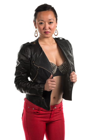 red jeans: Pretty Korean woman in a black leather jacket and red jeans