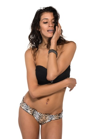 bandeau: Tall slender brunette in a black bandeau top and leopard print panties