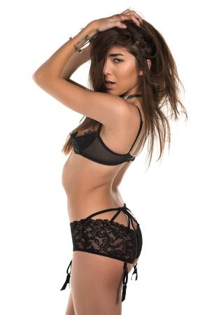 garters: Bella petite donna Eurasian in rivelatrice lingerie nera