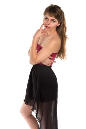turnanzug: H�bsche junge Br�nette in einem roten Trikot violett und dunkelgrau Rock