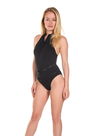 Beautiful young Hungarian blonde in a one-piece black swimsuit Imagens