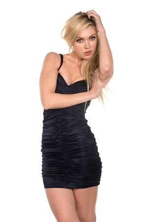 Beautiful tall Russian blonde in a short black dress