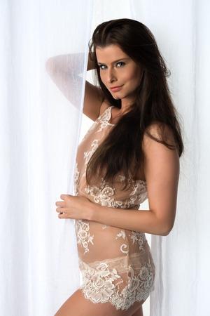 camisole: Beautiful Czech woman in a cream camisole Stock Photo