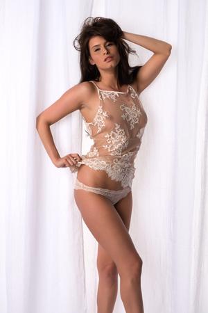 Beautiful Czech woman in a cream camisole Stock Photo