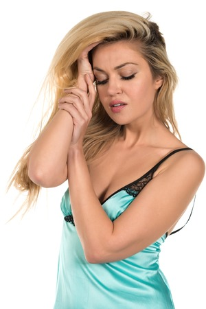 chemise: Beautiful tall Russian blonde in a teal chemise