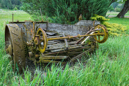 implementing: Antique honey wagon, Elberton ghost town, Washington Stock Photo