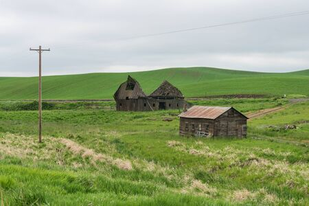 palouse: Dilapidated farm buildings, Palouse, Washington