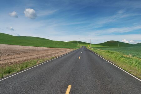 colfax: Highway through rolling hills covered in wheat, Colfax, Washington Stock Photo
