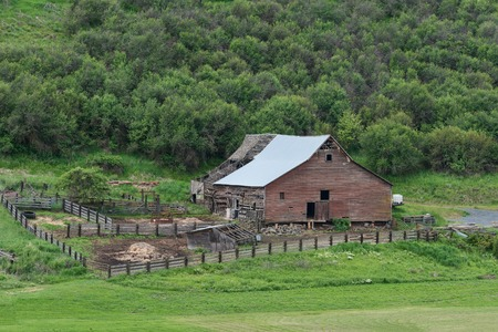 farm structures: Barn, fields and hills, Pullman, Washington Editorial