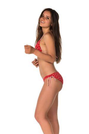 bikini slender: Slender young Romanian woman in a red bikini