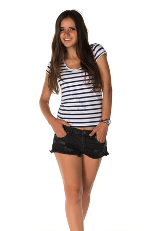 tee shirt: Slender young Romanian woman in a striped tee shirt