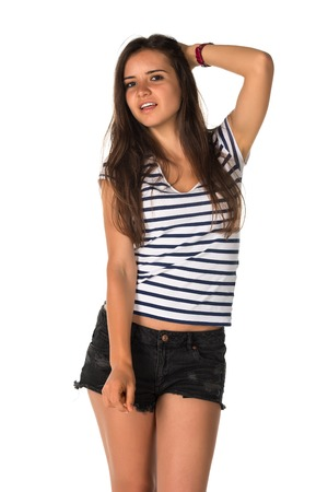 Slender young Romanian woman in a striped tee shirt