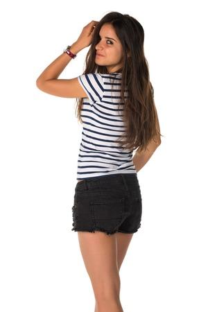 스트레칭 티 셔츠에있는 날씬한 젊은 루마니아어 여자 스톡 콘텐츠
