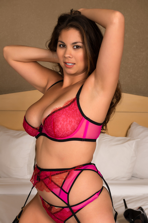 panty hose: Beautiful young Eurasian woman in revealing rose lingerie