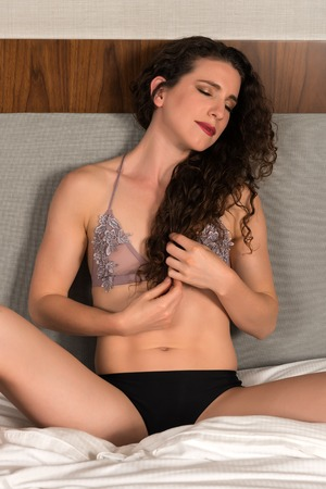 mauve: Pretty petite brunette in mauve and black