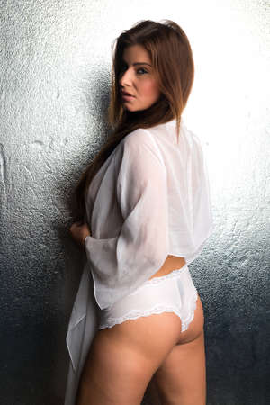 a white robe: Beautiful Czech woman in a white robe and panties