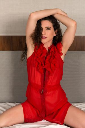 red dress: Pretty petite brunette in a red dress