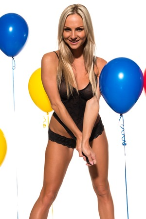 undergarment: Beautiful Czech blonde with colorful balloons