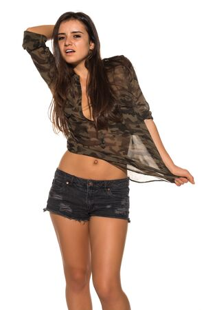 blouse: Pretty Romanian brunette in a camouflage blouse