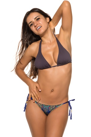 mauve: Pretty Romanian brunette in a mauve and blue bikini