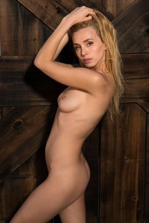 nude blonde girl: Beautiful Czech blonde standing nude against a wooden door