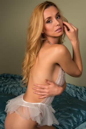 nightgown: Beautiful slender Czech blonde in a sheer nightgown