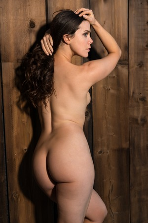 Pretty young brunette nude against a wooden door photo