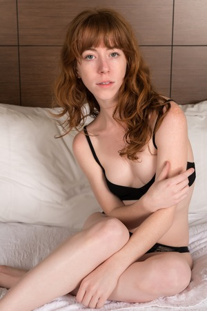 underwear girl: Petite young Irish redhead in black lingerie