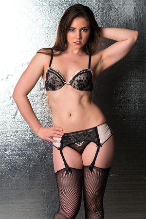 fishnets: Pretty petite brunette in black and beige lingerie