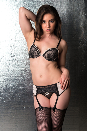 panty hose: Pretty petite brunette in black and beige lingerie