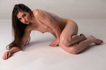 Pretty petite brunette nude on gray