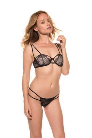 slim women: Beautiful young Hungarian blonde in brown lingerie