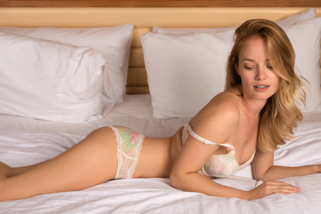 Beautiful young Hungarian blonde in pastel lingerie