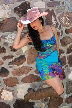 blue dress: Pretty mature Eurasian woman in a blue dress