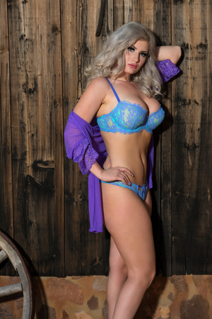 statuesque: Beautiful statuesque blonde in blue lingerie and a purple wrap Stock Photo