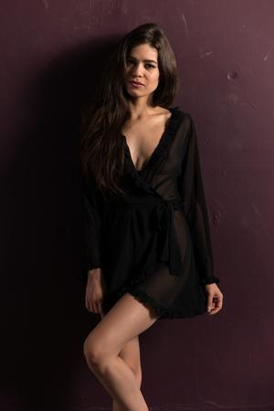sheer: Tall slender brunette in a sheer black wrap