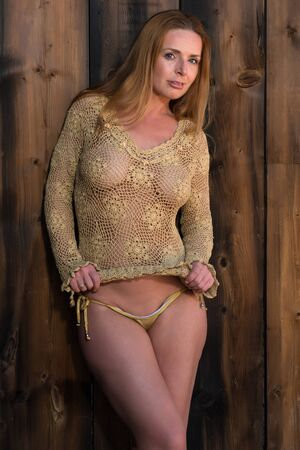 sexy redhead: Beautiful tall redhead in a gold fishnet top Stock Photo