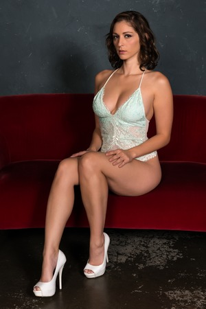 Beautiful shapely brunette in a teal bodysuit Stock Photo